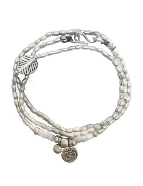 silver wrap bracelet with om pendant