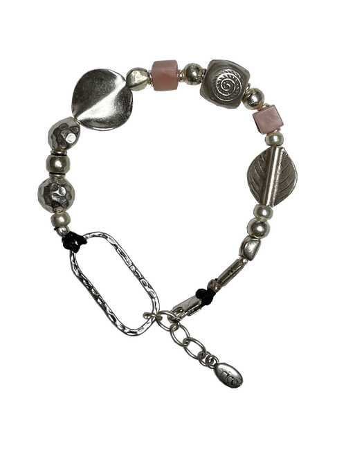 pink opal and silver bracelet