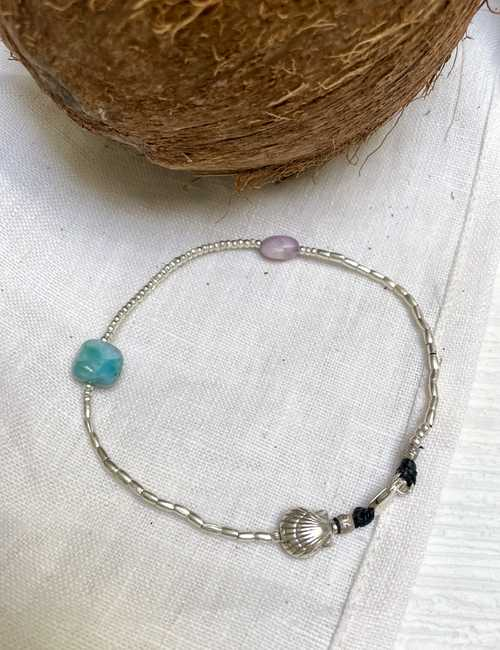 pure silver and gemstone anklet