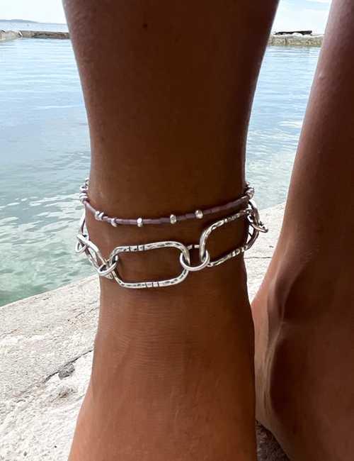 minimal silver anklet